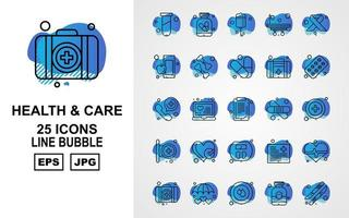 25 Premium Health And Care Line Bubble Icon Pack vector