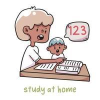estudiar en casa y mantenerse a salvo ilustración de coronavirus vector