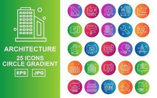 25 Premium Architecture Circle Gradient Icon Pack vector