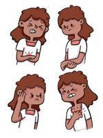 linda chica de dibujos animados herida, con dolor, herida conjunto de ilustraciones vector