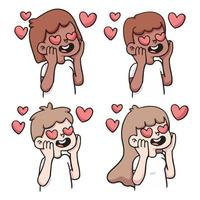 people heart in love reaction set cute cartoon illustration vector