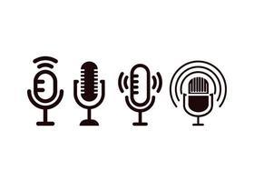 micrófono podcast icono diseño plantilla vector ilustración aislada