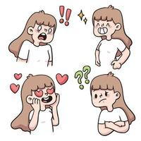 girl different kind of reaction set cute cartoon illustration