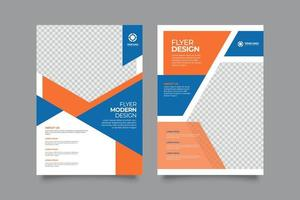 Abstract business flyer with blue and orange elements vector