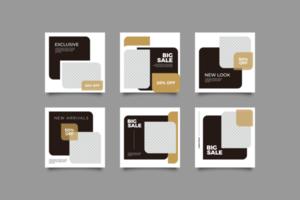 plantilla de publicación de redes sociales en negro y dorado