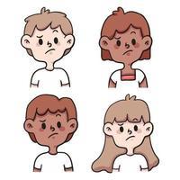 gente triste conjunto ilustración de dibujos animados lindo