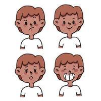 cartoon different kind of emotion set cute cartoon illustration vector