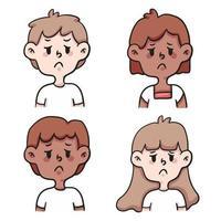 people doubt set cute cartoon illustration vector