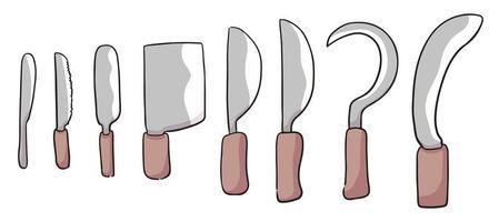 dibujos animados diferentes tipos de cuchillo ilustración de dibujos animados lindo vector