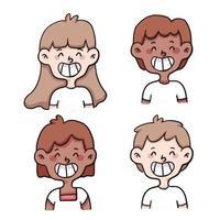 people sad set cute cartoon illustration vector