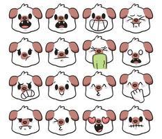 dog different kind of emotion set cute cartoon illustration vector