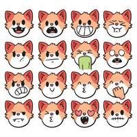 cat different kind of emotion cute cartoon illustration vector