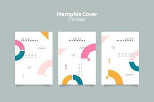 Memphis style cover design template vector