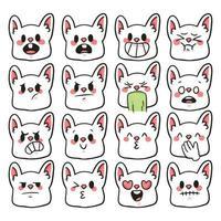 rabbit different kind of emotion cute cartoon illustration vector