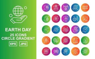 25 Premium Earth Day Circle Gradient Icon Pack vector