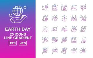 25 Premium Earth Day Line Gradient Icon Pack vector