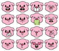 pig different kind of emotion cute cartoon illustration vector