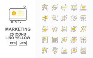 25 Premium Marketing Lino Yellow Icon Pack vector