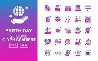 25 Premium Earth Day Glyph Gradient Icon Pack vector