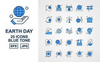 25 Premium Earth Day Blue Tone Icon Pack vector