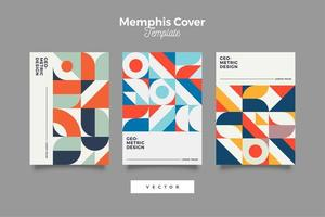 Set of Retro Bauhaus Cover Design vector