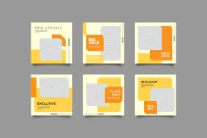 plantilla de publicación de redes sociales de moda tranquila amarilla vector