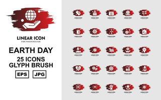 Paquete de 25 iconos de pincel de glifo del día de la tierra premium
