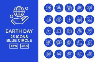 25 paquete de iconos de círculo azul del día de la tierra premium