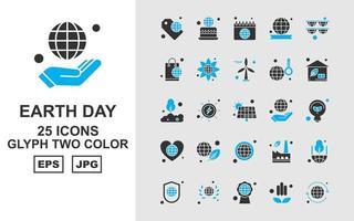 25 paquete de iconos de dos colores de glifos del día de la tierra premium