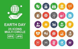 25 paquete de iconos de múltiples círculos del día de la tierra premium