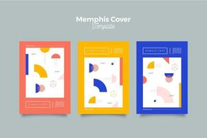 Colorful Memphis Geometric Template vector