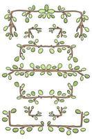 nature leaves frame border set cute cartoon illustration