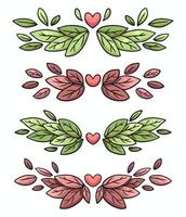 nature leaves frame border set cute cartoon illustration vector