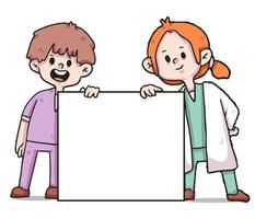 health workers holding banner covid-19 illustration vector