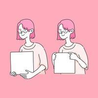 cute girl holding box an insert text illustration vector