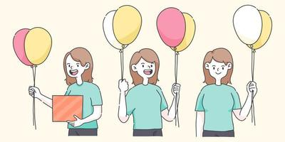 happy birthday girl holding balloons a cute people illustration
