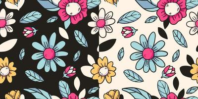 seamless pattern with flowers drawing cartoon vector