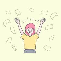 woman throwing papers celebration concept vector