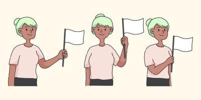 personaje de dibujos animados lindo ondeando el concepto de bandera