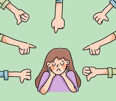 niña deprimida triste fracaso sin inspiración linda caricatura ilustración decepcionada vector