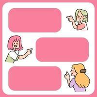 la gente inserta texto lindo personaje de dibujos animados nota diseño de espacio de texto vector