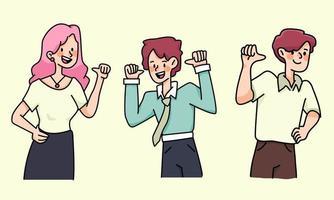 people proud self esteem set cute cartoon illustration vector