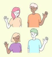 linda niña y niño agitando la mano un saludo gente ilustración