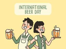 boy and girl internation beer day celebration cute cartoon holding beer alcoholic drink