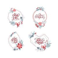Vector set collection of hand drawn Christmas wreaths with xmas text. Fir branches, red berries, leaves and other elements. Round frame for winter design winter card, poster, banner