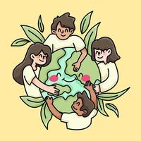 united people of the world peace and love charity illustration
