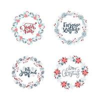 Vector set collection of hand drawn Christmas wreaths with xmas text. Fir branches, red berries, leaves and other elements. Round frame for winter design Christmas card, poster, banner