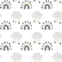 lindo vector arco iris con nubes de patrones sin fisuras en estilo escandinavo aislado sobre fondo blanco para niños. Ilustración de dibujos animados dibujados a mano para carteles, impresiones, tarjetas, telas, libros para niños