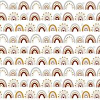 Lindo patrón transparente de vector arco iris en estilo escandinavo aislado sobre fondo blanco para niños. Ilustración de dibujos animados dibujados a mano para carteles, impresiones, tarjetas, telas, libros para niños