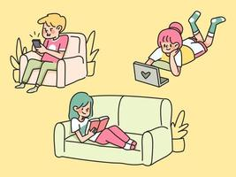 bored people home quarantine lazy sitting in sofa and using electronics stay at home vector